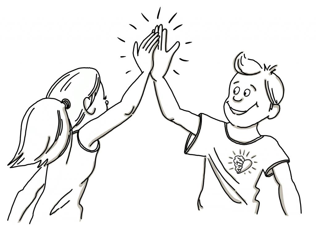 Grafische Darstellung eines MindBiz Coachs und einer Klientin, die sich ein High Five geben.